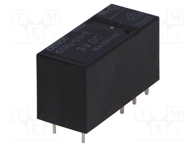 G5RL-U1-E-3DC_Relay: electromagnetic; SPDT; Ucoil:3VDC; 16A/250VAC; 16A/24VDC