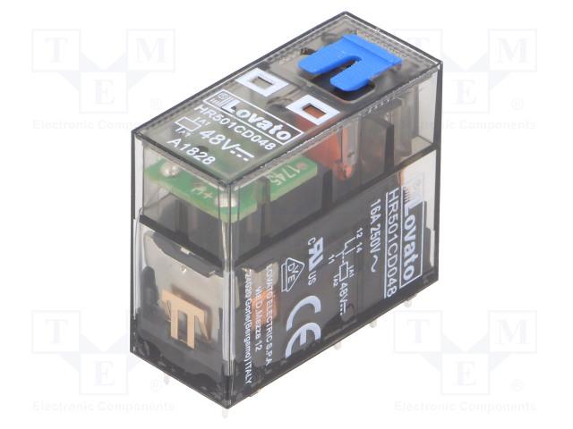 HR501CD048_Relay: electromagnetic; SPDT; Ucoil:48VDC; 16A/250VAC; 12A/30VDC