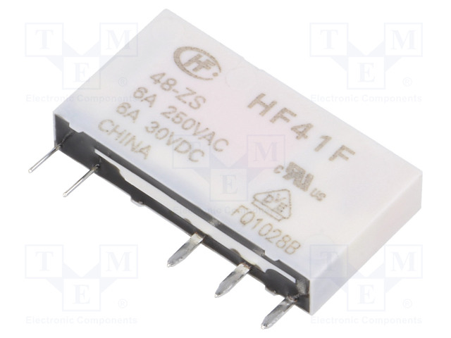 HF41F/48-ZS_Relay: electromagnetic; SPDT; Ucoil:48VDC; 6A/250VAC; 6A/30VDC; 6A
