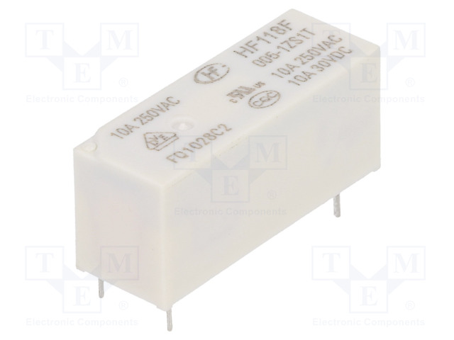HF118F/005-1ZS1T_Relay: electromagnetic; SPDT; Ucoil:5VDC; 10A/250VAC; 10A/30VDC