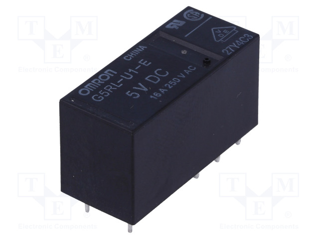 G5RL-U1-E-5DC_Relay: electromagnetic; SPDT; Ucoil:5VDC; 16A/250VAC; 16A/24VDC