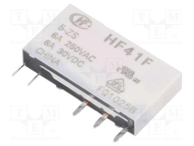 HF41F/005-ZS_Relay: electromagnetic; SPDT; Ucoil:5VDC; 6A/250VAC; 6A/30VDC; 6A