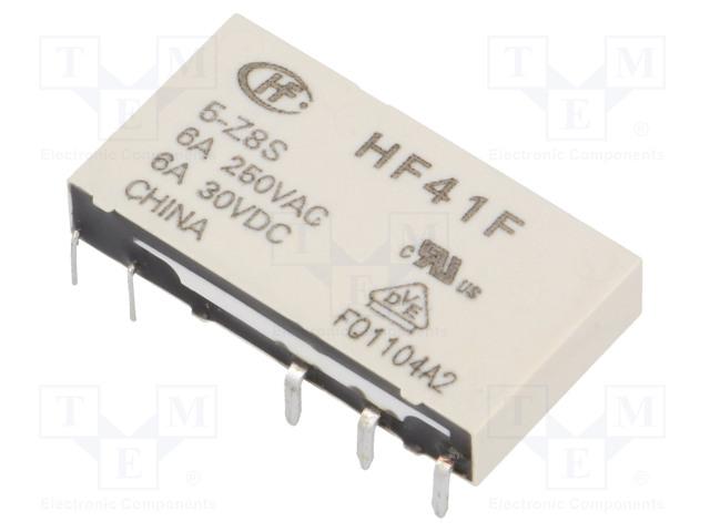 HF41F/5-Z8S_Relay: electromagnetic; SPDT; Ucoil:5VDC; 6A/250VAC; 6A/30VDC; 6A