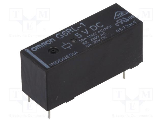 G6RL-1 5VDC_Relay: electromagnetic; SPDT; Ucoil:5VDC; 8A/250VAC; 5A/30VDC