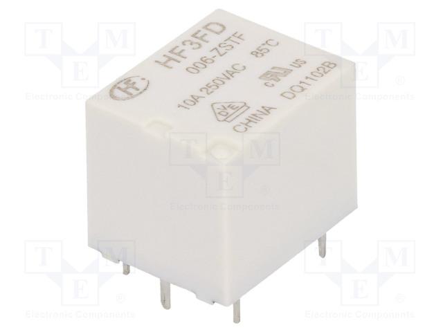 HF3FD/006-ZSTF_Relay: electromagnetic; SPDT; Ucoil:6VDC; 10A/250VAC; 10A/28VDC
