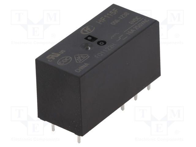 HF115F/006-1Z3B_Relay: electromagnetic; SPDT; Ucoil:6VDC; 16A/250VAC; 16A/24VDC