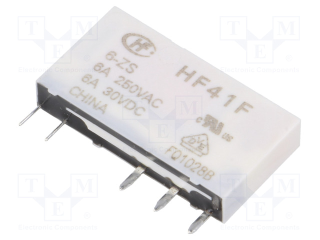HF41F/6-ZS_Relay: electromagnetic; SPDT; Ucoil:6VDC; 6A/250VAC; 6A/30VDC; 6A
