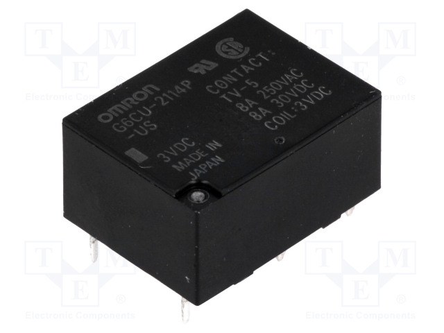 G6CU-2114P-US 3VDC_Relay: electromagnetic; SPST-NO + SPST-NC; Ucoil:3VDC; 8A/250VAC