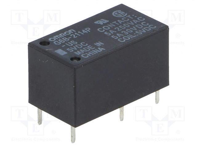G6B-2114P-US 5VDC_Relay: electromagnetic; SPST-NO + SPST-NC; Ucoil:5VDC; 5A/250VAC