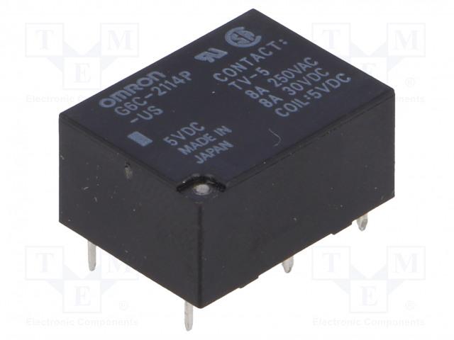 G6C-2114P-US 5VDC_Relay: electromagnetic; SPST-NO + SPST-NC; Ucoil:5VDC; 8A/250VAC