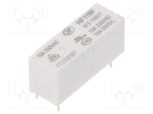 HF118F/012-1HS1T_Relay: electromagnetic; SPST-NO; Ucoil:12VDC; 10A/250VAC; 10A