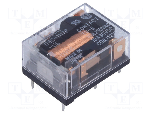 G6C-1117P-US 12VDC_Relay: electromagnetic; SPST-NO; Ucoil:12VDC; 10A/250VAC