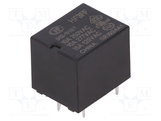 HF3FF/012-1HST_Relay: electromagnetic; SPST-NO; Ucoil:12VDC; 10A/277VAC; 15A