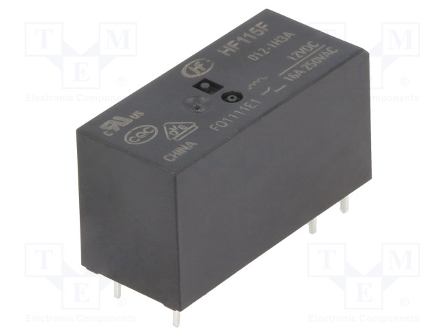 HF115F/012-1H3A_Relay: electromagnetic; SPST-NO; Ucoil:12VDC; 16A/250VAC; 16A