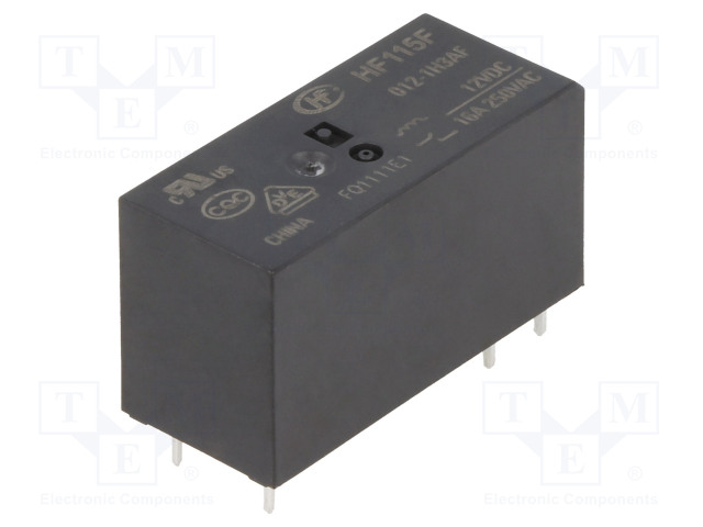HF115F/012-1H3AF_Relay: electromagnetic; SPST-NO; Ucoil:12VDC; 16A/250VAC; 16A