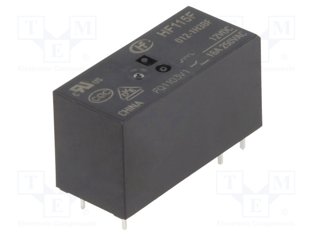 HF115F/012-1H3BF_Relay: electromagnetic; SPST-NO; Ucoil:12VDC; 16A/250VAC; 16A