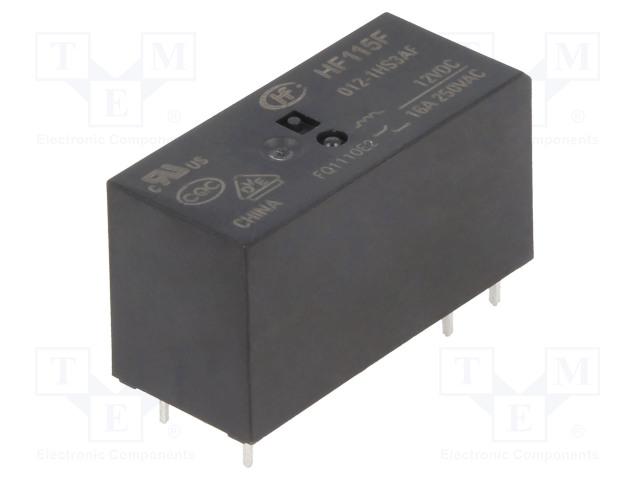 HF115F/012-1HS3AF_Relay: electromagnetic; SPST-NO; Ucoil:12VDC; 16A/250VAC; 16A