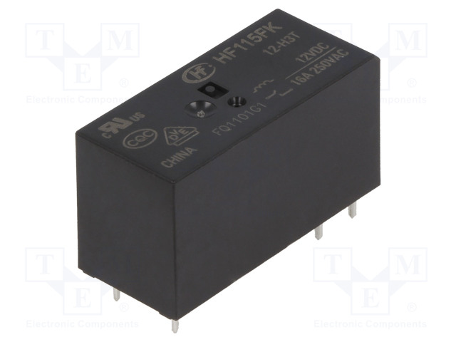 HF115FK/12-H3T_Relay: electromagnetic; SPST-NO; Ucoil:12VDC; 16A/250VAC; 16A