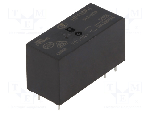 HF115F-I/012-1H3A_Relay: electromagnetic; SPST-NO; Ucoil:12VDC; 16A/250VAC; 400mW