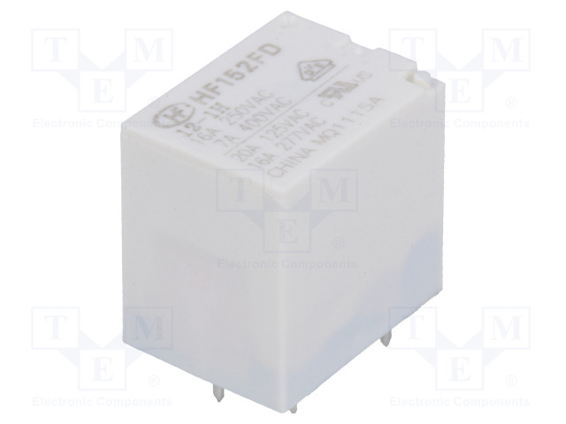 HF152FD/012-1H_Relay: electromagnetic; SPST-NO; Ucoil:12VDC; 20A/125VAC; 20A