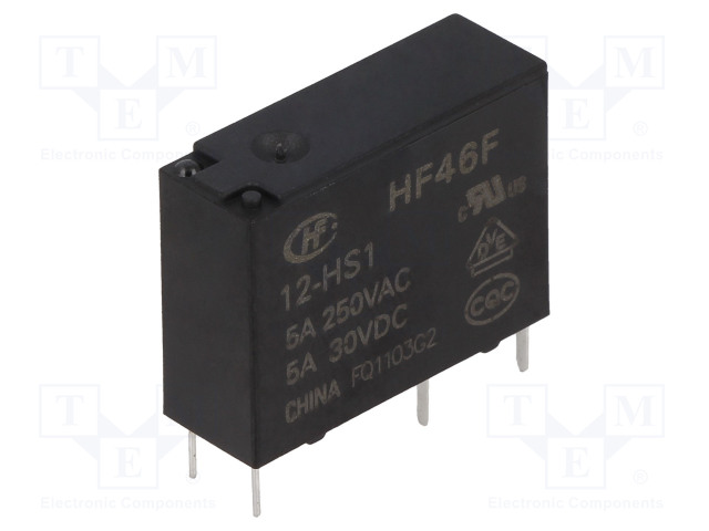 HF46F/12-HS1_Relay: electromagnetic; SPST-NO; Ucoil:12VDC; 5A/250VAC; 5A/30VDC