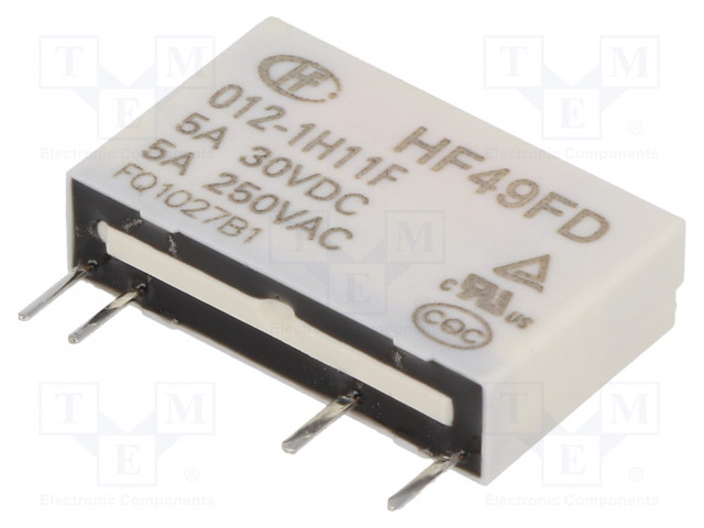 HF49FD/012-1H11F_Relay: electromagnetic; SPST-NO; Ucoil:12VDC; 5A/250VAC; 5A/30VDC