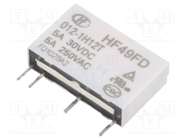 HF49FD/012-1H12T_Relay: electromagnetic; SPST-NO; Ucoil:12VDC; 5A/250VAC; 5A/30VDC