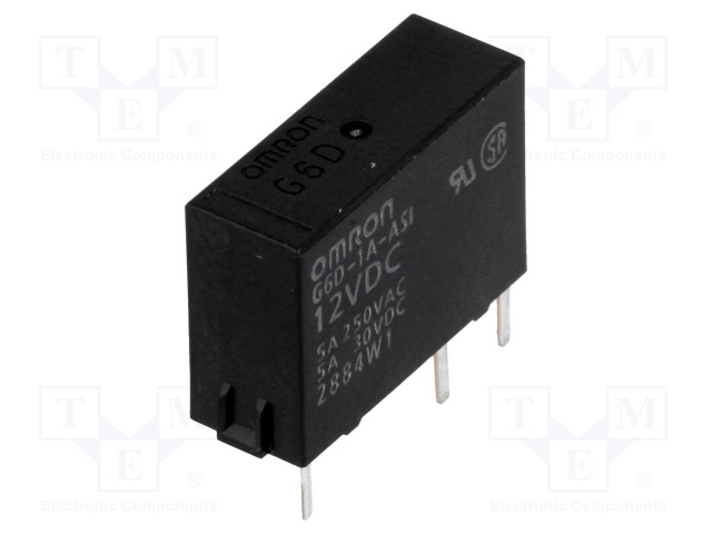 G6D-1A-ASI 12VDC_Relay: electromagnetic; SPST-NO; Ucoil:12VDC; 5A/250VAC; 5A/30VDC