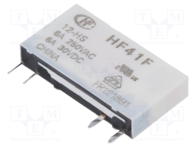 HF41F/012-HS_Relay: electromagnetic; SPST-NO; Ucoil:12VDC; 6A/250VAC; 6A/30VDC
