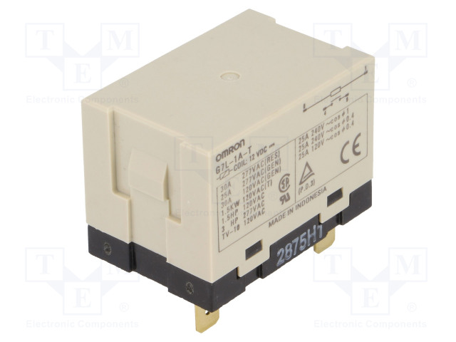 G7L-1A-T 12VDC_Relay: electromagnetic; SPST-NO; Ucoil:12VDC; Icontacts max:30A