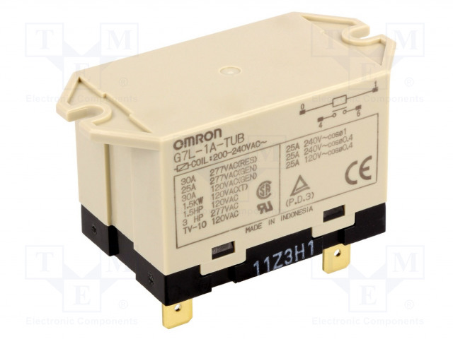 G7L-1A-TUB 200/240VAC_Relay: electromagnetic; SPST-NO; Ucoil:230VAC; Icontacts max:30A