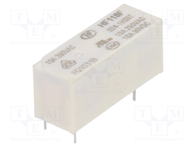 HF118F/024-1HS5T_Relay: electromagnetic; SPST-NO; Ucoil:24VDC; 10A/250VAC; 10A