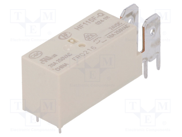 HF115F-Q/024-1H_Relay: electromagnetic; SPST-NO; Ucoil:24VDC; 20A/250VAC; 20A