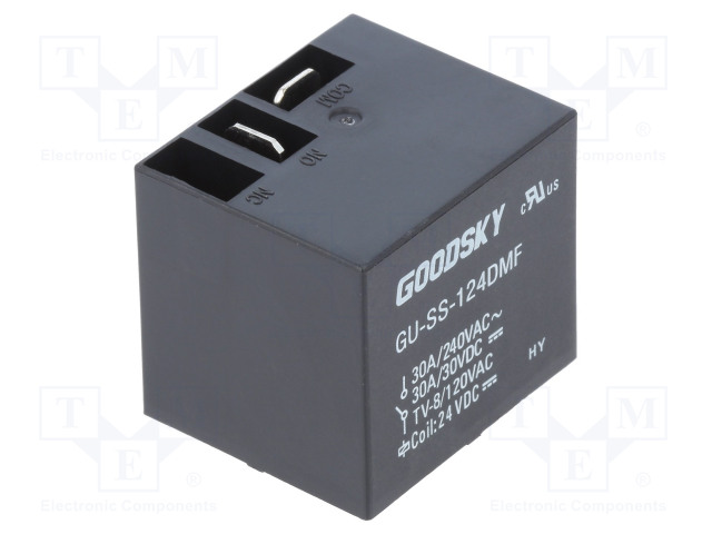 GU-SS-124DMF_Relay: electromagnetic; SPST-NO; Ucoil:24VDC; 30A; Mounting: PCB