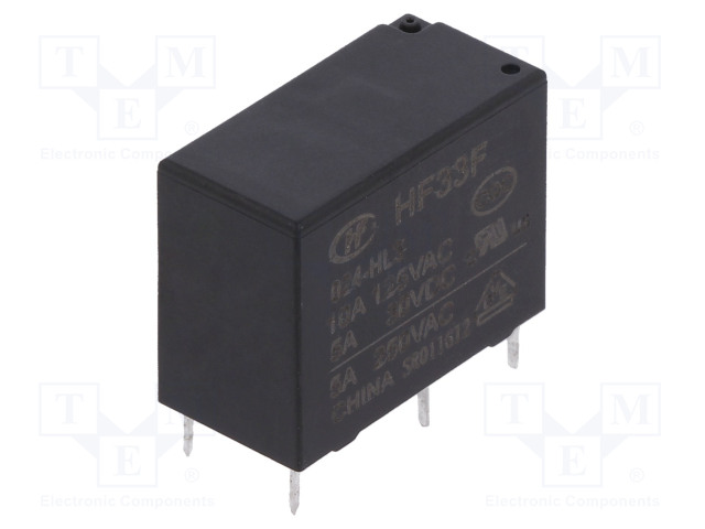 HF33F/024-HL3_Relay: electromagnetic; SPST-NO; Ucoil:24VDC; 5A/250VAC; 5A/30VDC