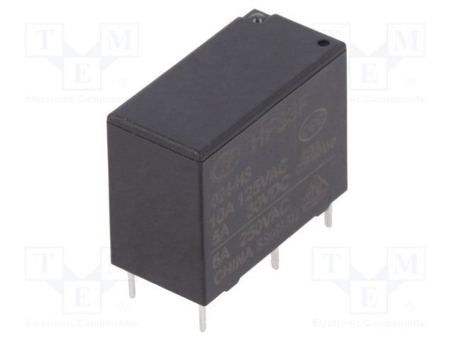 HF33F/024-HS_Relay: electromagnetic; SPST-NO; Ucoil:24VDC; 5A/250VAC; 5A/30VDC