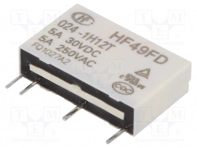 HF49FD/024-1H12T_Relay: electromagnetic; SPST-NO; Ucoil:24VDC; 5A/250VAC; 5A/30VDC