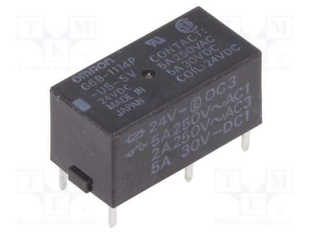 G6B-1114P-US-SV 24VDC_Relay: electromagnetic; SPST-NO; Ucoil:24VDC; 5A/250VAC; 5A/30VDC
