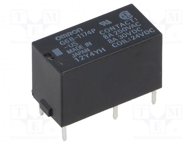 G6B-1174P-US 24VDC_Relay: electromagnetic; SPST-NO; Ucoil:24VDC; 8A/250VAC; 8A/30VDC