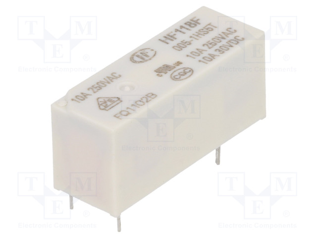 HF118F/005-1HS5T_Relay: electromagnetic; SPST-NO; Ucoil:5VDC; 10A/250VAC; 10A