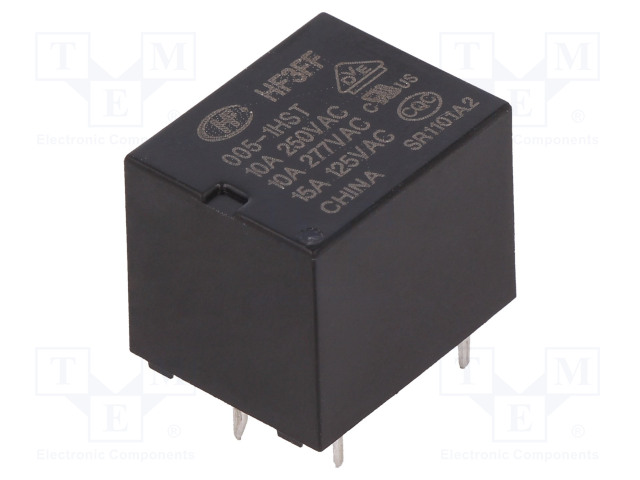 HF3FF/005-1HST_Relay: electromagnetic; SPST-NO; Ucoil:5VDC; 10A/277VAC; 10A