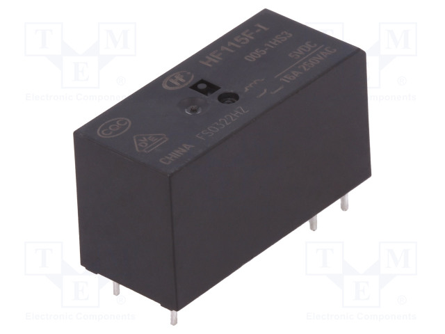 HF115F-I/005-1HS3_Relay: electromagnetic; SPST-NO; Ucoil:5VDC; 16A/250VAC; toff:8ms