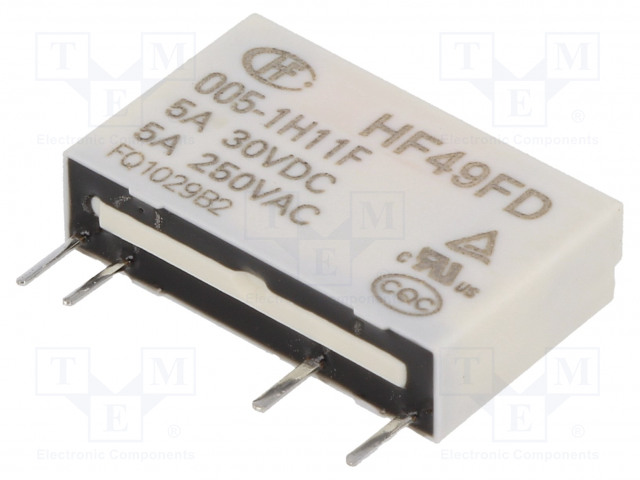 HF49FD/005-1H11F_Relay: electromagnetic; SPST-NO; Ucoil:5VDC; 5A/250VAC; 5A/30VDC