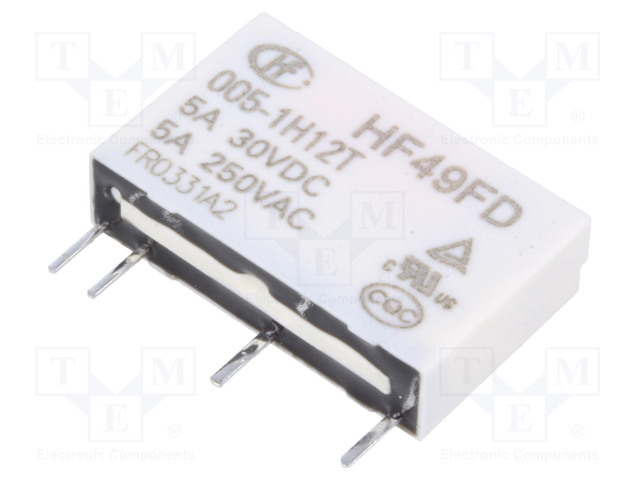 HF49FD/005-1H12T_Relay: electromagnetic; SPST-NO; Ucoil:5VDC; 5A/250VAC; 5A/30VDC