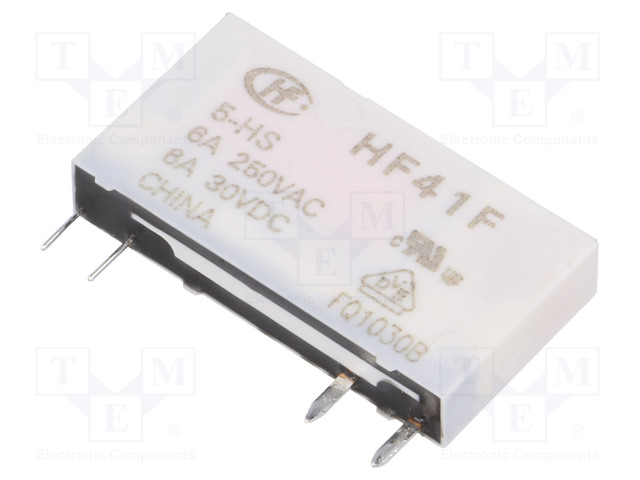 HF41F/5-HS_Relay: electromagnetic; SPST-NO; Ucoil:5VDC; 6A/250VAC; 6A/30VDC
