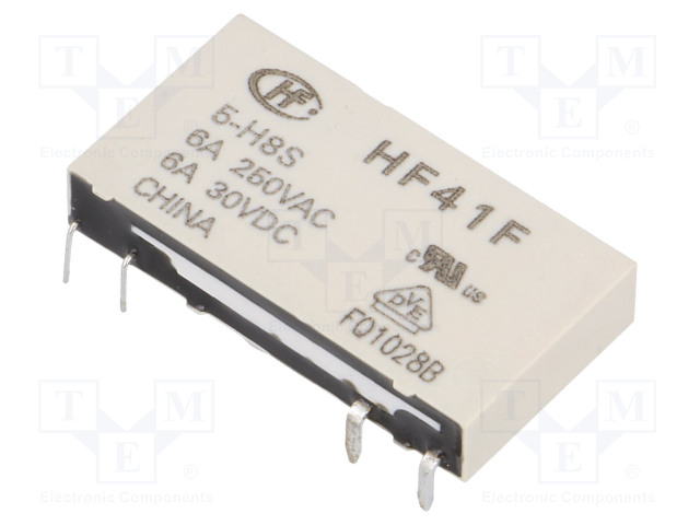 HF41F/5-H8S_Relay: electromagnetic; SPST-NO; Ucoil:5VDC; 6A/250VAC; 6A/30VDC
