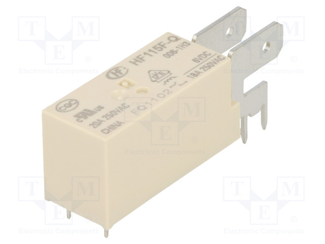 HF115F-Q/006-1H3_Relay: electromagnetic; SPST-NO; Ucoil:6VDC; 20A/250VAC; 20A