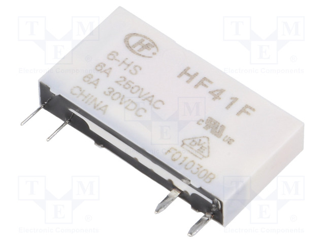 HF41F/6-HS_Relay: electromagnetic; SPST-NO; Ucoil:6VDC; 6A/250VAC; 6A/30VDC