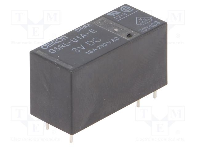 G5RL-U1A-E-3DC_Relay: electromagnetic; SPST; Ucoil:3VDC; 16A/250VAC; 16A/24VDC