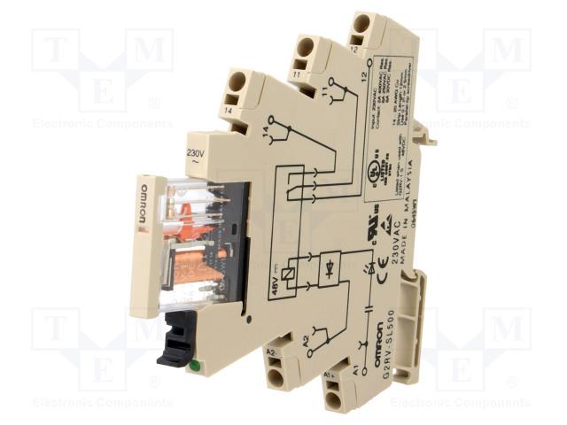 G2RV-SL500 230VAC_Relay: interface; SPDT; Ucoil:230VAC; 6A; 6A/250VAC; 6A/30VDC